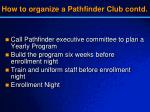 how to organize a pathfinder club contd1