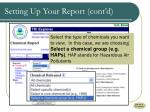 setting up your report cont d
