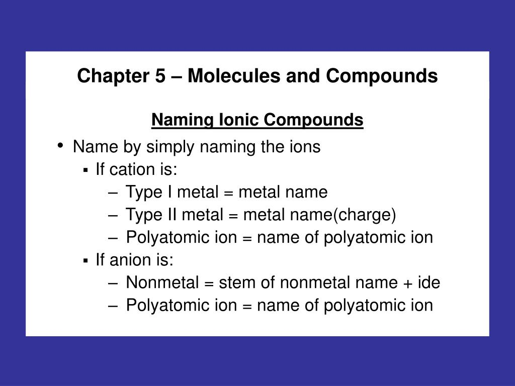 PPT - Chapter 5 – Molecules and Compounds PowerPoint