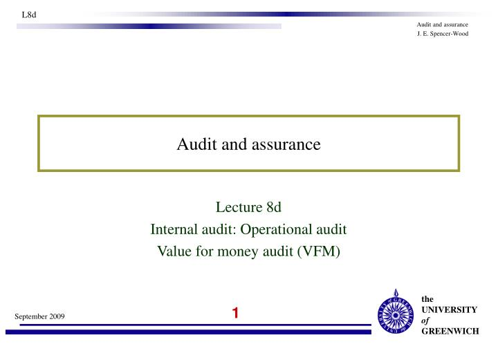 audit and assurance n.