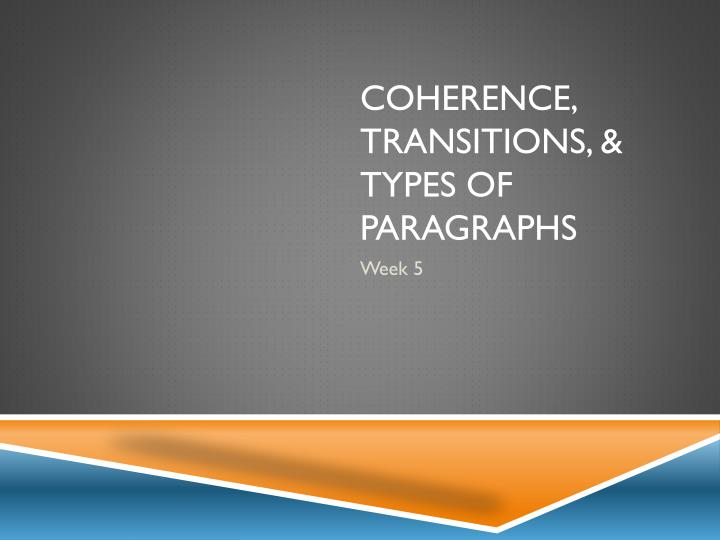 coherence transitions types of paragraphs n.