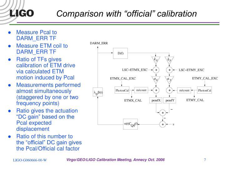 "Comparison with ""official"" calibration"