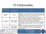 t2 2 deliverables