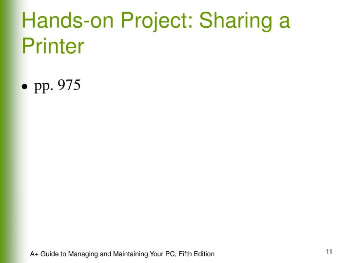Hands-on Project: Sharing a Printer