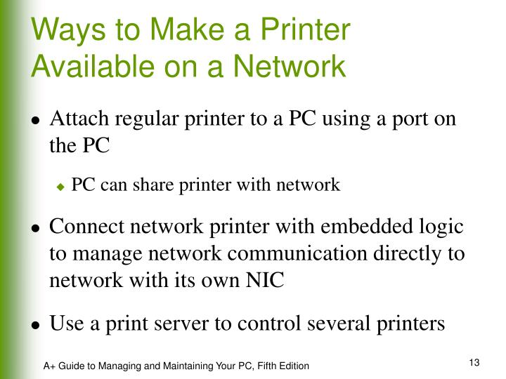 Ways to Make a Printer Available on a Network