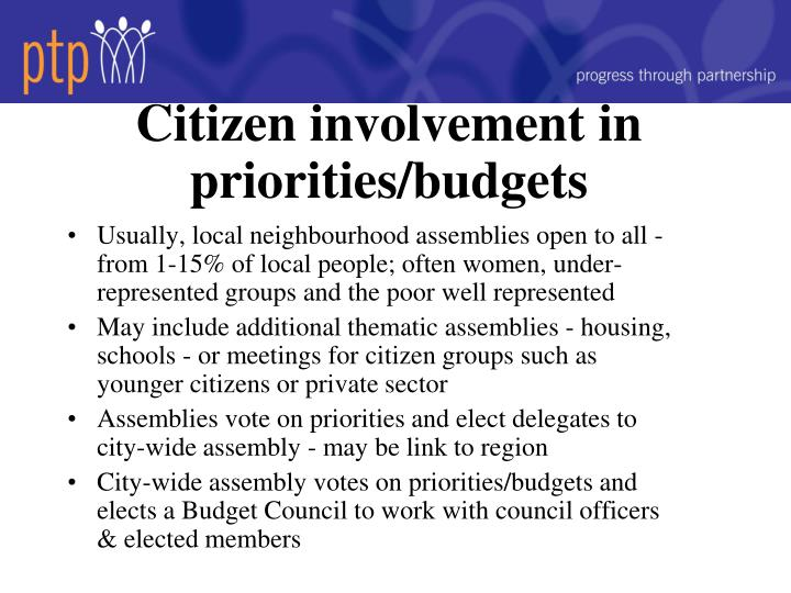 Citizen involvement in priorities/budgets