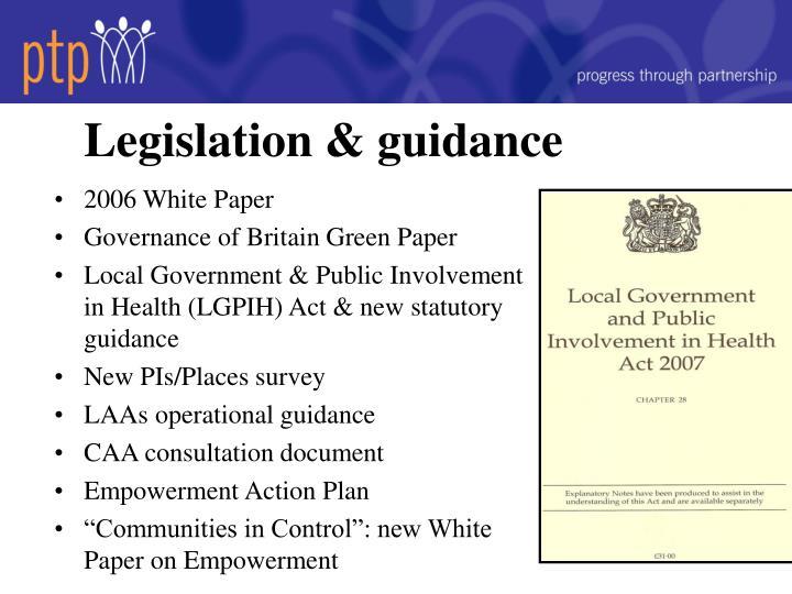 Legislation & guidance