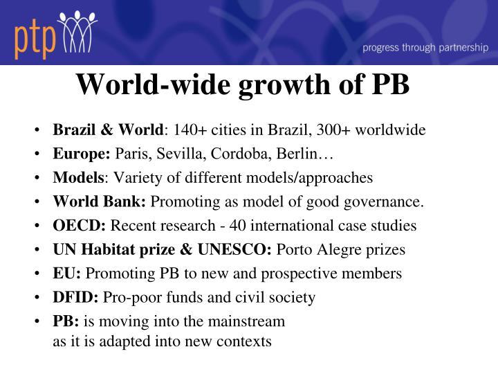 World-wide growth of PB