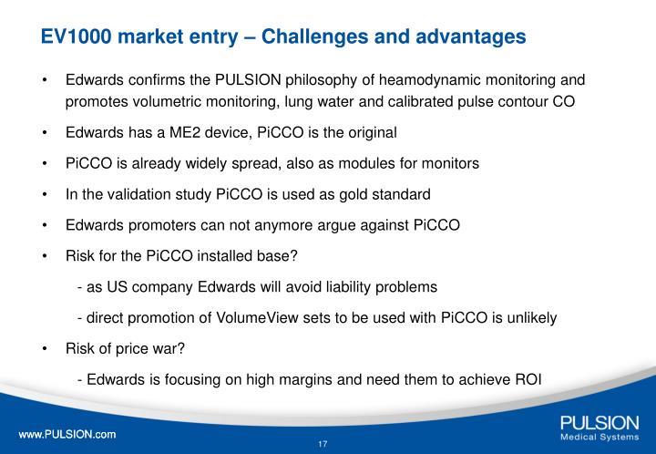 EV1000 market entry – Challenges and advantages