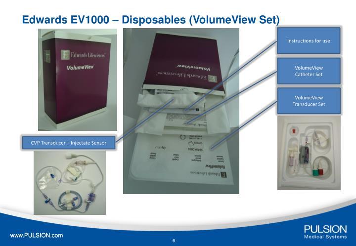 Edwards EV1000 – Disposables (VolumeView Set)