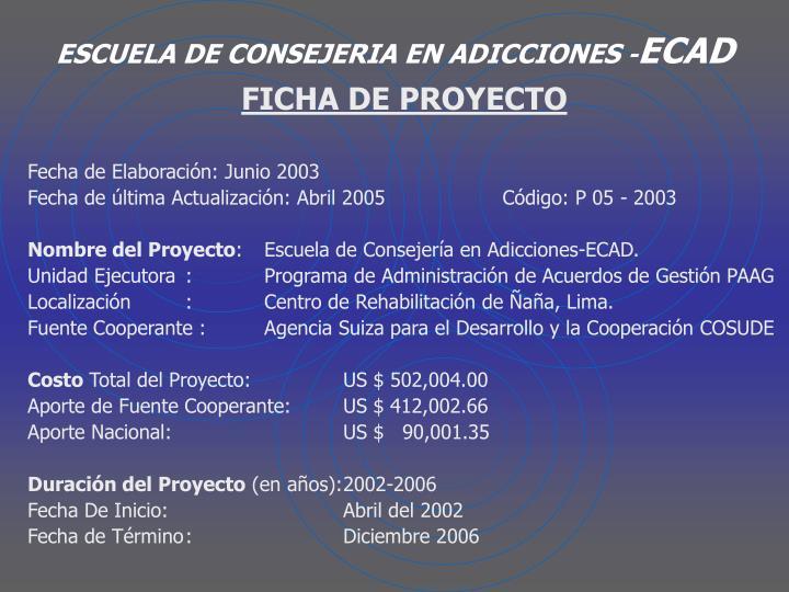 Escuela de consejeria en adicciones ecad