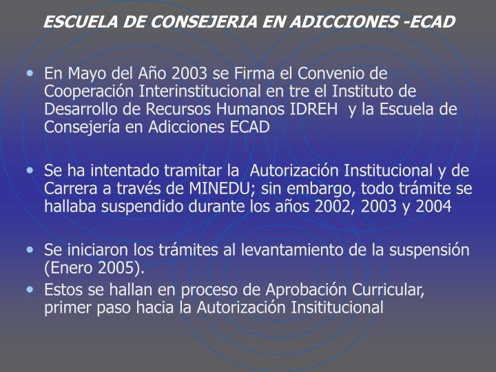 ESCUELA DE CONSEJERIA EN ADICCIONES -ECAD