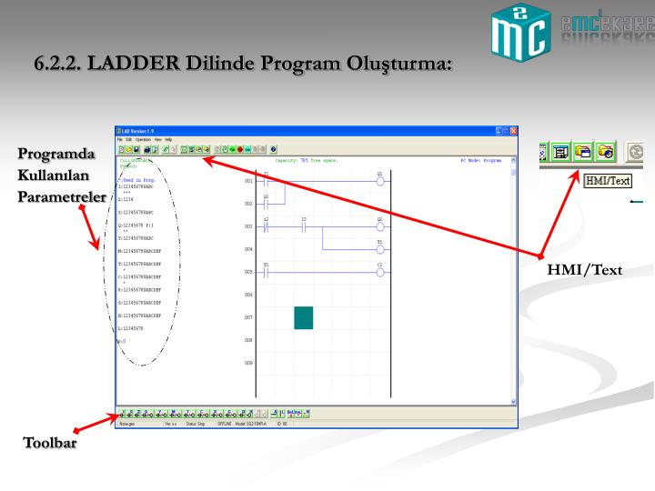 6.2.2. LADDER Dilinde Program Oluşturma: