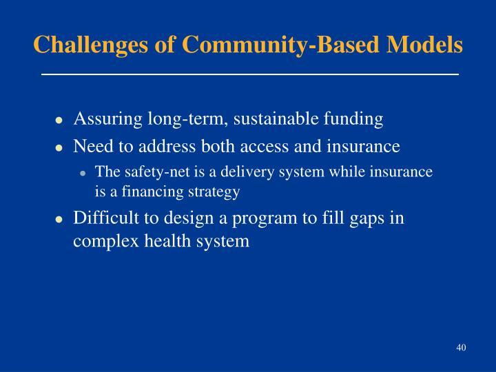 Challenges of Community-Based Models