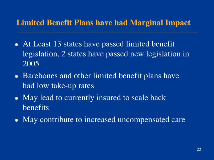 Limited Benefit Plans have had Marginal Impact