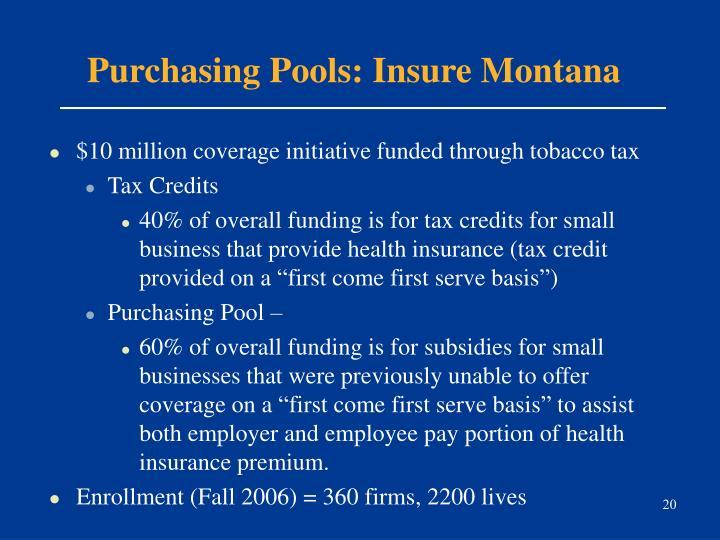 Purchasing Pools: Insure Montana
