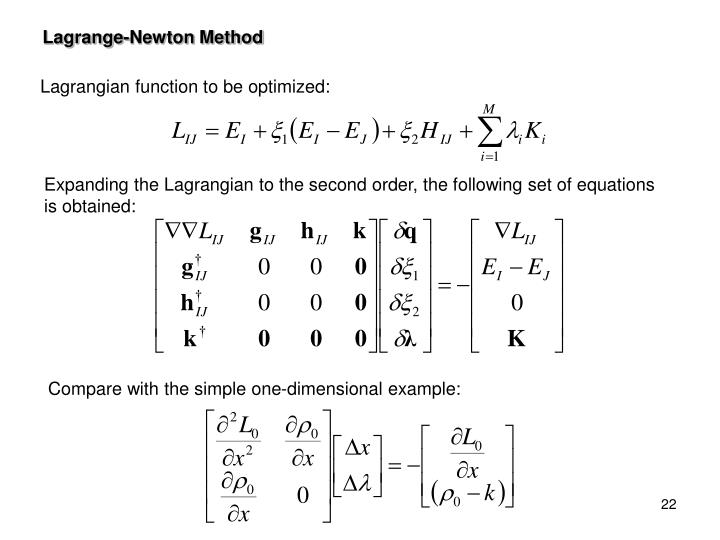 Expanding the Lagrangian to the second order, the following set of equations