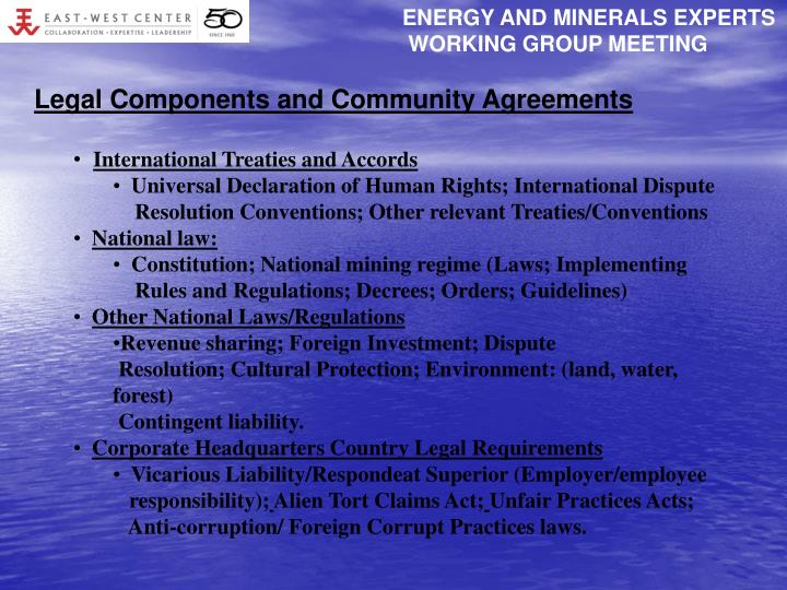 ENERGY AND MINERALS EXPERTS