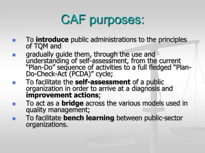 CAF purposes: