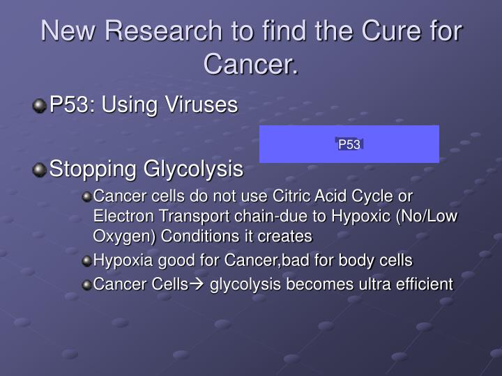 New Research to find the Cure for Cancer.