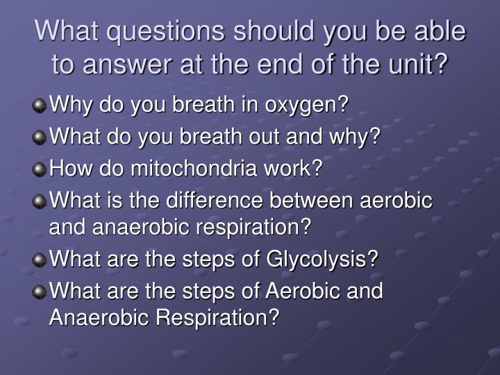 What questions should you be able to answer at the end of the unit?