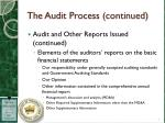 the audit process continued