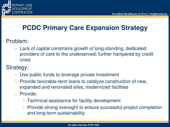 PCDC Primary Care Expansion Strategy
