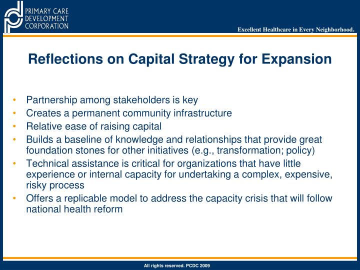 Reflections on Capital Strategy for Expansion