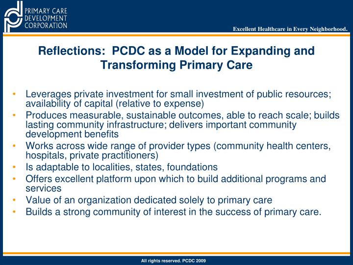 Reflections:  PCDC as a Model for Expanding and Transforming Primary Care