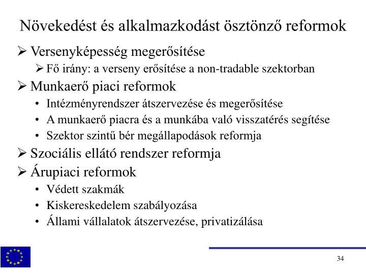 Növekedést és alkalmazkodást ösztönző reformok