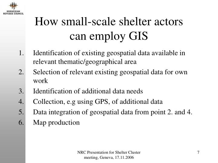 How small-scale shelter actors