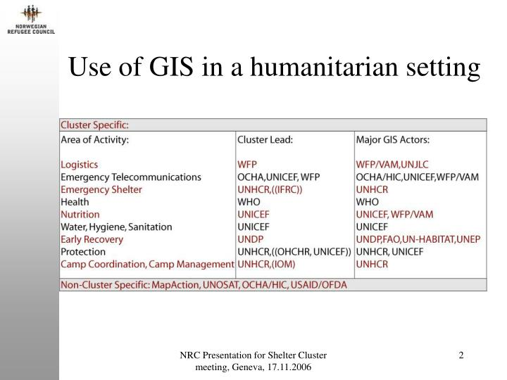 Use of gis in a humanitarian setting