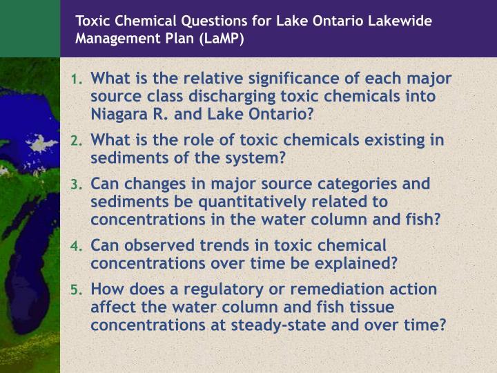 Toxic Chemical Questions for Lake Ontario Lakewide Management Plan (LaMP)
