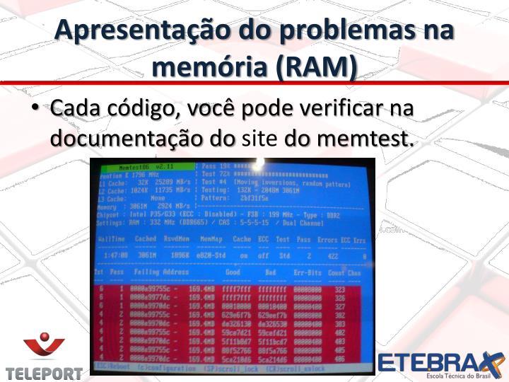Apresentação do problemas na memória (RAM)