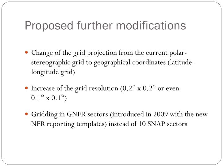 Proposed further modifications