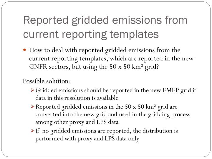 Reported gridded emissions from current reporting templates