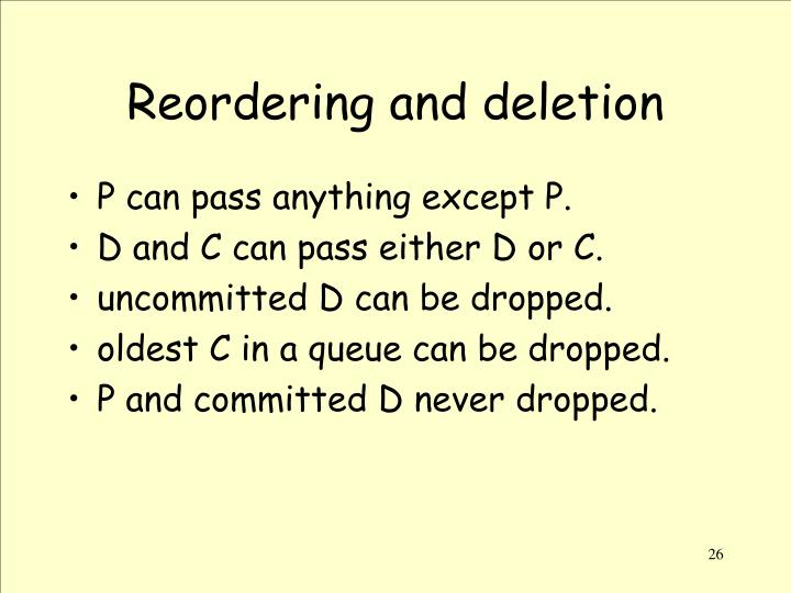 Reordering and deletion