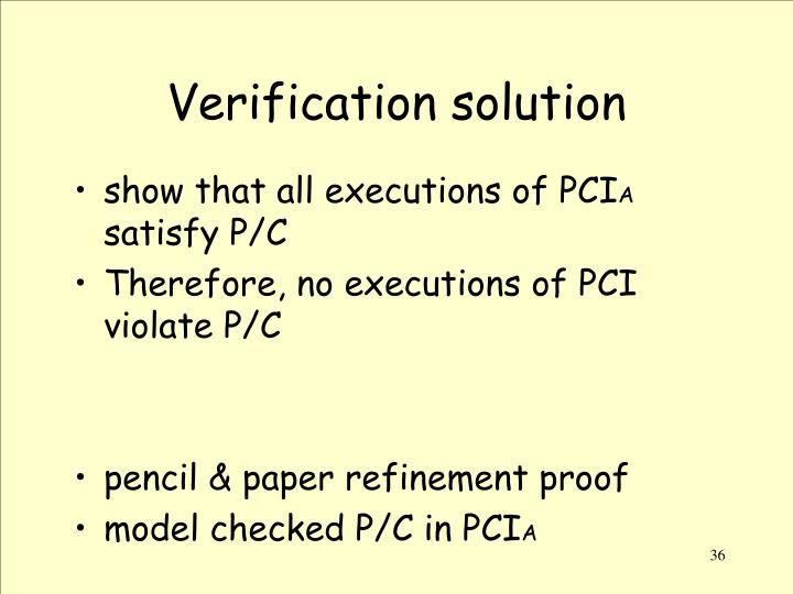 Verification solution