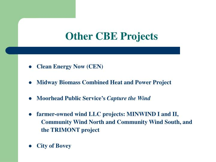 Other CBE Projects