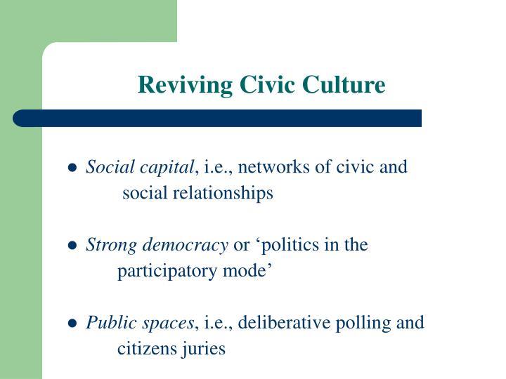 Reviving Civic Culture