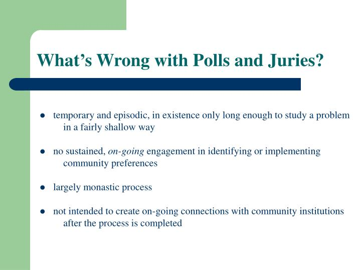 What's Wrong with Polls and Juries?