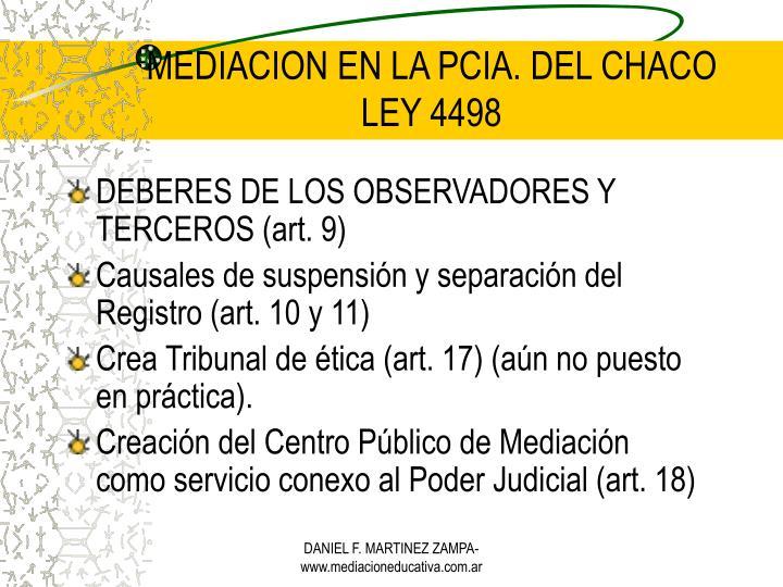 MEDIACION EN LA PCIA. DEL CHACO
