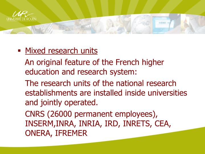 Mixed research units