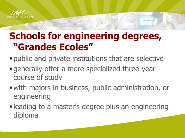 """Schools for engineering degrees, """"Grandes Ecoles"""""""