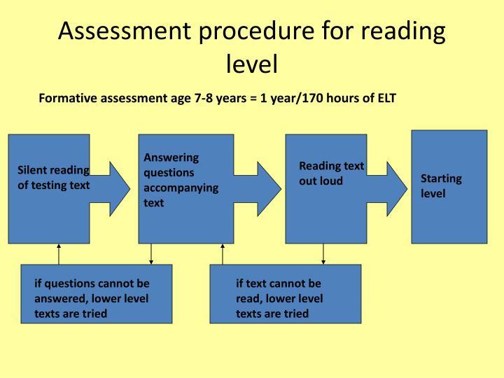 Assessment procedure for reading level