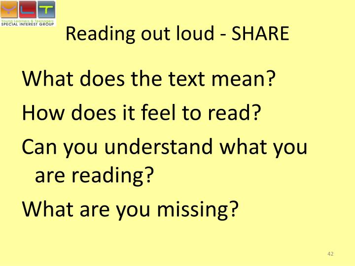 Reading out loud - SHARE