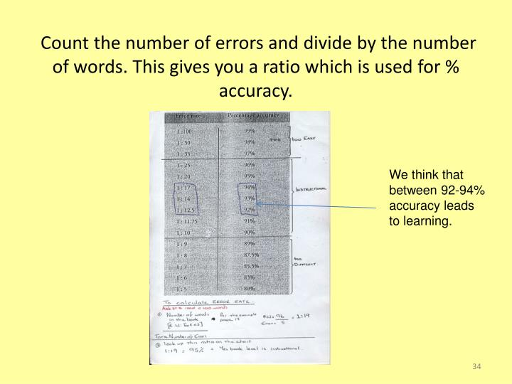 Count the number of errors and divide by the number of words. This gives you a ratio which is used for % accuracy.