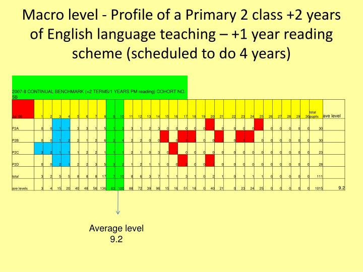 Macro level - Profile of a Primary 2 class +2 years of English language teaching – +1 year reading scheme (scheduled to do 4 years)