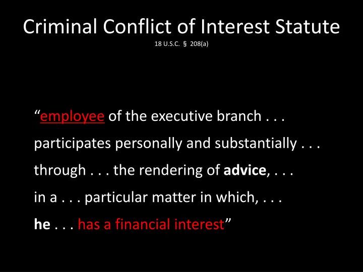 Criminal Conflict of Interest Statute
