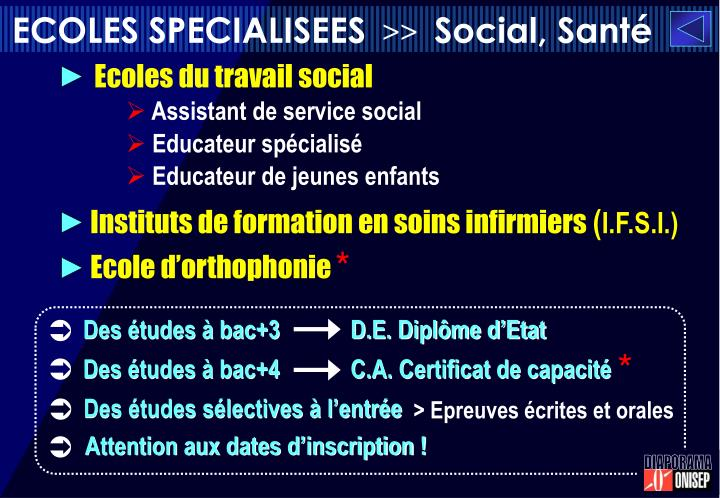 ECOLES SPECIALISEES
